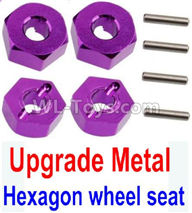 Wltoys 10428-2 Parts-K949-12 Upgrade Metal 12MM Hexagon wheel seat,Tire adapter(4pcs)-Purple,Wltoys 10428-2 Rc Car Parts,High speed 1:10 Scale 4wd,10428-B2 Electric Power On Road Drift Racing Truck Car Parts