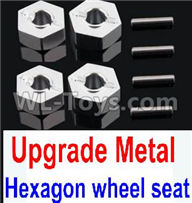 Wltoys 10428-2 Parts-K949-12 Upgrade Metal 12MM Hexagon wheel seat,Tire adapter(4pcs)-Silver,Wltoys 10428-2 Rc Car Parts,High speed 1:10 Scale 4wd,10428-B2 Electric Power On Road Drift Racing Truck Car Parts