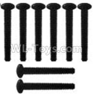 Wltoys 10428-2 Parts-K939-62 Pan head inner hexagon Screws-M3X21-Black zinc plated-M3X25(8PCS),Wltoys 10428-2 Rc Car Parts,High speed 1:10 Scale 4wd,10428-B2 Electric Power On Road Drift Racing Truck Car Parts