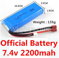 Wltoys 10428-2 Parts-Official 7.4v 2200mah battery with T-shape plug(Size-10.4X3.5X1.9CM)-(Weight-135g),Wltoys 10428-2 Rc Car Parts,High speed 1:10 Scale 4wd,10428-B2 Electric Power On Road Drift Racing Truck Car Parts