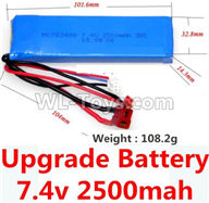 Wltoys 10428-2 Parts-Upgrade 7.4v 2500mah 25C battery with T-shape plug(Size-101.6X32.8X14.3MM)-(Weight-106.3g),Wltoys 10428-2 Rc Car Parts,High speed 1:10 Scale 4wd,10428-B2 Electric Power On Road Drift Racing Truck Car Parts