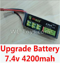 Wltoys 10428-2 Parts-Upgrade 7.4v 4200mah battery with T-shape plug,Wltoys 10428-2 Rc Car Parts,High speed 1:10 Scale 4wd,10428-B2 Electric Power On Road Drift Racing Truck Car Parts