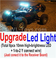 Wltoys 10428-2 Parts-Upgrade LED light unit(Total 6pcs Light and 1pcs 1-TO-2 Y-shape connect wire),Wltoys 10428-2 Rc Car Parts,High speed 1:10 Scale 4wd,10428-B2 Electric Power On Road Drift Racing Truck Car Parts