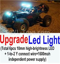 Wltoys 10428-2 Parts-Upgrade LED light unit(Total 6pcs Light and 1pcs 1-TO-2 Y-shape connect wire & 1600MAH Independent power supply),Wltoys 10428-2 Rc Car Parts,High speed 1:10 Scale 4wd,10428-B2 Electric Power On Road Drift Racing Truck Car Parts