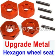 Wltoys 10428-A Parts-Upgrade Metal 12MM Hexagon wheel seat,Tire adapter(4pcs)-Orange,Wltoys 10428-A Rc Car Parts,High speed 1:10 Scale 4wd,10428-A Electric Power On Road Drift Racing Truck Car Parts