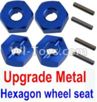 Wltoys 10428-A Parts-Upgrade Metal 12MM Hexagon wheel seat,Tire adapter(4pcs)-Dark Blue,Wltoys 10428-A Rc Car Parts,High speed 1:10 Scale 4wd,10428-A Electric Power On Road Drift Racing Truck Car Parts