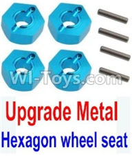 Wltoys 10428-A Parts-Upgrade Metal 12MM Hexagon wheel seat,Tire adapter(4pcs)-Light Blue For Wltoys K949 Rc Car Parts,High speed 1:10 Scale 4wd PARTS
