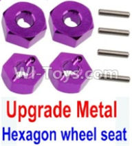 Wltoys 10428-A Parts-Upgrade Metal 12MM Hexagon wheel seat,Tire adapter(4pcs)-Purple,Wltoys 10428-A Rc Car Parts,High speed 1:10 Scale 4wd,10428-A Electric Power On Road Drift Racing Truck Car Parts