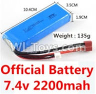 Wltoys 10428-A Parts-Official 7.4v 2200mah battery with T-shape plug(Size-10.4X3.5X1.9CM)-(Weight-135g),Wltoys 10428-A Rc Car Parts,High speed 1:10 Scale 4wd,10428-A Electric Power On Road Drift Racing Truck Car Parts