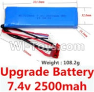 Wltoys 10428-A Parts-Upgrade 7.4v 2500mah 25C battery with T-shape plug(Size-101.6X32.8X14.3MM)-(Weight-106.3g),Wltoys 10428-A Rc Car Parts,High speed 1:10 Scale 4wd,10428-A Electric Power On Road Drift Racing Truck Car Parts