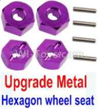 Wltoys 10428-B Parts-Upgrade Metal 12MM Hexagon wheel seat,Tire adapter(4pcs)-Purple,Wltoys 10428-B Rc Car Parts,High speed 1:10 Scale 4wd,10428-B Electric Power On Road Drift Racing Truck Car Parts