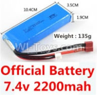 Wltoys 10428-B Parts-Official 7.4v 2200mah battery with T-shape plug(Size-10.4X3.5X1.9CM)-(Weight-135g),Wltoys 10428-B Rc Car Parts,High speed 1:10 Scale 4wd,10428-B Electric Power On Road Drift Racing Truck Car Parts