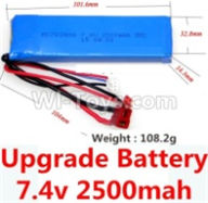 Wltoys 10428-B Parts-Upgrade 7.4v 2500mah 25C battery with T-shape plug(Size-101.6X32.8X14.3MM)-(Weight-106.3g),Wltoys 10428-B Rc Car Parts,High speed 1:10 Scale 4wd,10428-B Electric Power On Road Drift Racing Truck Car Parts