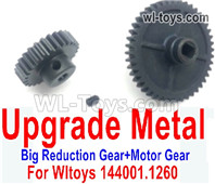 Wltoys 124016 Upgrade Parts Metal Steel Motor Gear + Reduction gear. It is perfectly suitable for the 124016 RC Racing Car.