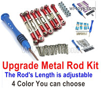 Wltoys 124016 Upgrade Parts Metal Rod Assembly Kit. 4 color you can choose. It Includes 7pcs Rod + Screws drivers + screws
