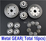 Wltoys 124018 Parts-Whole Metal Kit-(Metal gear, total 16pcs)