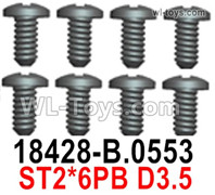 Wltoys 124019 Screws Parts 18428-B.0553 Screws. ST2x6PB D3.5.