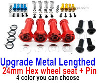 Wltoys 124018 Upgrade Parts-Upgrade Metal Lengthed 24mm Hex wheel seat with pin-4 set-4 Color you can choose