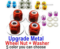 Wltoys 124019 Upgrade Parts-Upgrade Metal Nut for the Wheel + Washer-4 set-4 Color you can choose