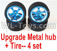 Wltoys 124019 Upgrade Metal wheel hub+ Tire-4 set