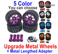 Wltoys 124018 Upgrade Parts Metal Wheels Tires + Upgrade Metal Lengthed 24mm Hex wheel seat. Run More stable and more resistant to falls.