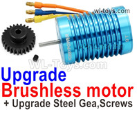 Wltoys 124018 Upgrade Parts Brushless Motor + Steel Motor Gear. Steel material is harder and more wear-resistant.