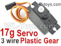 Wltoys 124018 Upgrade Parts Servo. The Torque is 17g with 3 Wire. The Gear is made of Plastic Material.