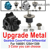 Wltoys 124018 Upgrade Parts Metal Gearbox Cover + Front Steel Differential unit + Bearings + Bevel gear. 124018.1254 + 124018.1309 .