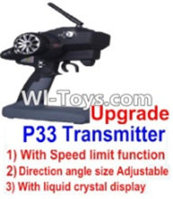 Wltoys 12423 Car Spare Parts-00126-03 pgrade P33 Transmitter(With Speed Limit function,Direction angle size Adjustable,With liquid crystal display),Wltoys 12423 RC Car Spare Parts Replacement Accessories,1:12 Scale 4wd,2.4G 12423 RC racing car Parts,On Ro