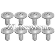 Wltoys 12423 Car Spare Parts-0069 Pan head screws with cross media(M2.0x4 PMW)-8pcs,Wltoys 12423 RC Car Spare Parts Replacement Accessories,1:12 Scale 4wd,2.4G 12423 RC racing car Parts,On Road Drift Racing Truck Car Parts