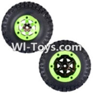 Wltoys 12423 Car Spare Parts-0071 Whole Right Wheel unit(Include the Wheel,Trie leather,upper and bottom wheel cover)-2pcs,Wltoys 12423 RC Car Spare Parts Replacement Accessories,1:12 Scale 4wd,2.4G 12423 RC racing car Parts,On Road Drift Racing Truck Car