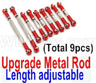 Wltoys 12427 Parts-Upgrade Metal Rod(Length adjustable)-9pcs-Red-(Include the 0018,19,20,21,22 Metal Rod)-9pcs