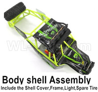 Wltoys 12428 Body shell assembly-Include the All Roll cage,Shell cover,Light,Spare Tires
