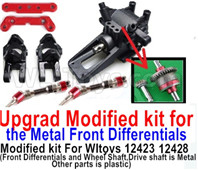 Wltoys 12428 Parts Upgrade Modified kit for the Metal Front Differentials-Option 2(Front Differentials assembly and Wheel shaft is Metal,other parts is plastic)