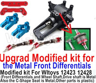 Wltoys 12428 Parts Upgrade Modified kit for the Metal Front Differentials-Option 3(Front Differentials assembly,Wheel shaft and C-Shape Seat is Metal,other parts is plastic)