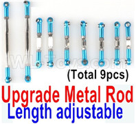 Wltoys 12428 Upgrade Parts Metal Rod. The Length is adjustable, 9pcs,Blue.
