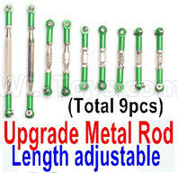 Wltoys 12428 Upgrade Parts Metal Rod. The Length is adjustable, 9pcs,Green.