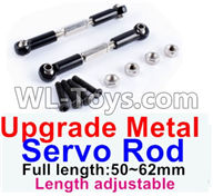 Wltoys 12429 Parts-0018-03 Upgrade Metal Servo Rod(2pcs)-Black-(Full length-50-62mm)-Length adjustable,Wltoys 12429 1/12 RC Car Parts