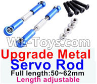 Wltoys 12429 Parts-0018-03 Upgrade Metal Servo Rod(2pcs)-Blue-(Full length-50-62mm)-Length adjustable,Wltoys 12429 1/12 RC Car Parts
