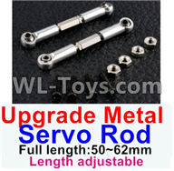 Wltoys 12429 Parts-0018-04 Upgrade Metal Servo Rod(2pcs)-Silver-(Full length-50-62mm)-Length adjustable,Wltoys 12429 1/12 RC Car Parts