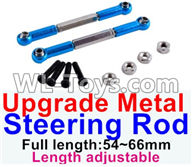 Wltoys 12429 Parts-0019-03 Upgrade Metal steering rod(2pcs)-Blue-(Full length-54~66mm)-Length adjustable,Wltoys 12429 1/12 RC Car Parts