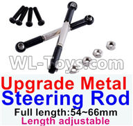 Wltoys 12429 Parts-0019-04 Upgrade Metal steering rod(2pcs)-Black-(Full length-54~66mm)-Length adjustable,Wltoys 12429 1/12 RC Car Parts