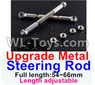 Wltoys 12429 Parts-0019-05 Upgrade Metal steering rod(2pcs)-Silver-(Full length-54~66mm)-Length adjustable,Wltoys 12429 1/12 RC Car Parts