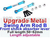 Wltoys 12429 Parts-0021-03 12429.1172 Upgrade Metal Swing arm Rod B,Front shock absorber lever(2pcs)-Light Blue-(Full length-50-62mm)-Length adjustable,Wltoys 12429 1/12 RC Car Parts