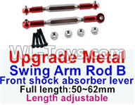Wltoys 12429 Parts-0021-04 12429.1172 Upgrade Metal Swing arm Rod B,Front shock absorber lever(2pcs)-Red-(Full length-50-62mm)-Length adjustable,Wltoys 12429 1/12 RC Car Parts
