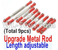 Wltoys 12429 Parts-0022-08 Upgrade Metal Rod(Length adjustable)-9pcs-Red,Wltoys 12429 1/12 RC Car Parts