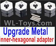 Wltoys 12429 Parts-0044-05 Upgrade Metal inner-hexagonal adapter(4pcs)-Silver,Wltoys 12429 1/12 RC Car Parts