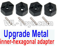 Wltoys 12429 Parts-0044-06 Upgrade Metal inner-hexagonal adapter(4pcs)-Black,Wltoys 12429 1/12 RC Car Parts