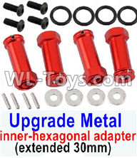 Wltoys 12429 Parts-0044-11 SLA010 Upgrade Metal 12mm inner-hexagonal adapter(extended 30mm)-Red,Wltoys 12429 1/12 RC Car Parts