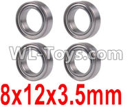 Wltoys 12429 Parts-0093 Bearing(4pcs-8X12X3.5MM),Wltoys 12429 1/12 RC Car Parts